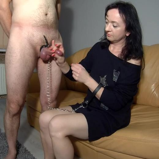 Sexy mature wife Maya sucking tied cock
