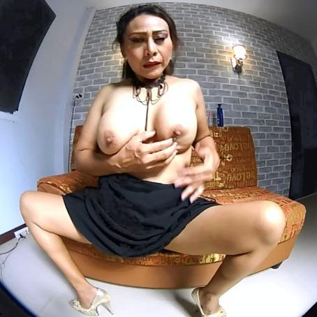 Horny Asian mature with big tits enjoys fingering herself