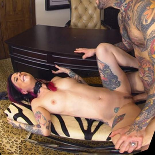 Tattooed Lovers Cum Together