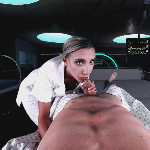 Superb nurse Sophia Grace showing her cock handling skills on her patient