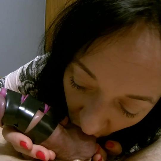 Maya jerking and licking her man's cock